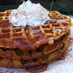 Pumpkin Waffles with Apple Cider Syrup.    Next Weekend Waffle try!