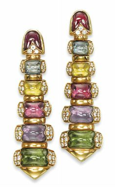 A PAIR OF MULTI-GEM AND DIAMOND 'CELTICA' EARRINGS, BY BULGARI   Each designed as a tapered band of arched links, decorated with cabochon amethysts, peridots, vari-coloured tourmalines and topazes, to the pavé-set diamond sides, mounted in gold, 1993, 5.3 cm, in light beige suede Bulgari pouch  Signed Bulgari
