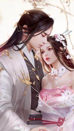 Romantic Anime Couples, Fantasy Couples, Fantasy Art Men, Anime Art Fantasy, Beautiful Fantasy Art, Cute Anime Couples, Fantasy Girl, Anime Couples Drawings, Anime Couples Manga