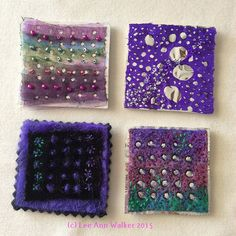 "Lee Ann Walker, 3b-2"", 2/3/2015, Two inch commercial felt base, foil, organza, wet felt, velvet, beads, thread. Working with holes revealing shiny or matte surfaces."
