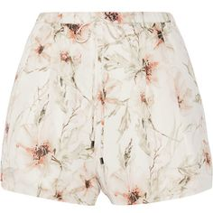 Haute Hippie Floral-print silk-organza shorts (2,575 MXN) ❤ liked on Polyvore featuring shorts, ivory, floral shorts, haute hippie, loose fit shorts, floral printed shorts and elastic waist shorts