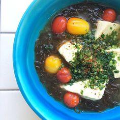 "Miso soup of marine-plants""Mozuku"", TOFU & seasonal vegetables(tomato)/モズクとお豆腐、トマトのお味噌汁"