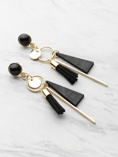 Shop Triangle And Tassel Detail Drop Earrings With Gemstone online. SheIn offers Triangle And Tassel Detail Drop Earrings With Gemstone & more to fit your fashionable needs. Ear Jewelry, Cute Jewelry, Jewelery, Jewelry Accessories, Jewelry Design, Women Jewelry, Gold Jewelry, Vintage Jewelry, Handmade Jewelry