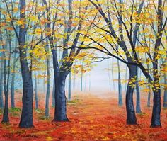 Painting Easy Autumn 35 Ideas For 2019 Fall Canvas Painting, Canvas Painting Tutorials, Forest Painting, Autumn Painting, Canvas Paintings, Autumn Forest, Autumn Art, Fall Pictures, Pictures To Paint
