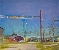Karl Newman.  Rail yard.  Oil on canvas.  138 x 118 cms