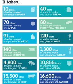 It takes 70 liters of water to make one apple. Water is the new oil of the 21st century. You can live without oil, but you can't  live without water. Fascinating stats and research.