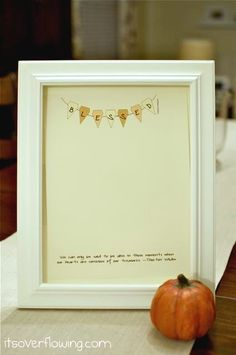 Thanksgiving printable - blessings.  Frame behind glass and write something new each day with dry-erase pen