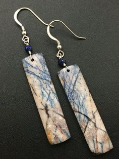 Azurite Earrings Gemstone Slice Earrings by AngelWearDesigns2013