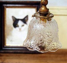 Lamp Shade L30アンティークプレスガラスのランプシェードビンテージ インテリア 雑貨 家具 Antique ¥20000yen 〆06月22日
