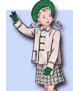 1940s Vintage Butterick Sewing Pattern 4262 Uncut Toddler Girls Suit Size 4 23B #Butterick #SuitPattern