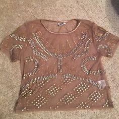 Bar III sheer sequin top Blush Sheer top. Perfect for a night out. One loose sequin, other than that - like new. Tops Blouses