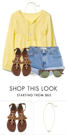"""""""☀️"""" by flroasburn ❤ liked on Polyvore featuring Levi's, Tory Burch, Kendra Scott and Ray-Ban"""