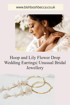 A gorgeous pair of floral hoop bridal earrings. The lily flowers with pearls sway seductively from the chains as a bride sashays down the aisle on her wedding day. Wedding Earrings Drop, Bridal Earrings, Bridal Jewelry, Chain Earrings, Statement Earrings, Pearl Earrings, Floral Hoops, Acrylic Flowers, Gold Paper