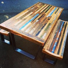 Custom Reclaimed Wood Rustic Modern Industrial Unique Patterned Indoor/ Outdoor Dining Table