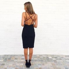 Back detail of the Olympia Dress available in black & scarlett in boutiques and online xx #kookai