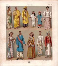 'Costumes of Ceylon' by Auguste Racinet - (1825-1893) A noted artist, art and costume historian, he edited a multivolume series - 'Le Costume Historique', originally published in France between 1876 and 1888. It was the most wide-ranging and incisive study of clothing ever attempted, covering the world history of costume, dress, and style from antiquity through the end of the 19th century. Published in 6 volumes containing nearly 500 plates—remains, to this day, unique in its scope and…