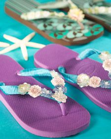 Give your flip-flops a one-of-a-kind look by decorating them with trim and embellishments. I think I am going to try to sell some of these flipflops.It would make a good craft for kids during the summer break.they could make some extra money.  Bev