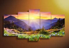 Sun and Flowers Canvas Art 5 Piece