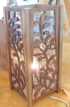 Nice wooden lamp finely cut, sanded, stained and varnished. Scroll Saw Patterns Free, Wood Patterns, Lamp Design, Wood Design, Lampe Laser, Rocket Lamp, Foam Carving, Lampe Decoration, Clay Wall Art