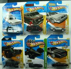 HOT WHEELS LOT OF 6 VHTF MODELS    ADD THESE COOL CARS TO YOUR COLLECTION    1) 2010 NEW MODELS GHOSTBUSTERS ECTO-1 25/240    2) 2011 NEW MODELS BACK TO THE FUTURE TIME MACHINE 18/244    3) 2012 NEW MODELS THE BAT 27/247    4) 2013 HW IMAGINATION BATMAN LIVE BATMOBILE 65/250    5) 2011 NEW MODELS A-TEAM VAN 39/244    6) 2012 NEW MODELS K.I.T.T. KNIGHT INDUSTRIES TWO THOUSAND 17/247    THESE CARS ARE IN THEIR ORIGINAL PACKAGING AND AS YOU CAN SEE BY THE PHOTOS ARE IN EXCELLENT CONDITION…