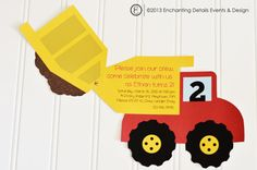 Dump Truck PRINTABLE DIY Construction Birthday Party Invitation