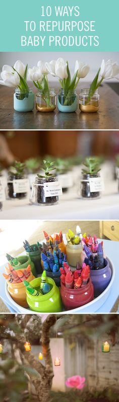 Turn your baby food jars into beautiful outdoor lighting and your wipe boxes into planters. Don't let those old baby products go to waste. We love these up-cycled DIY ideas.