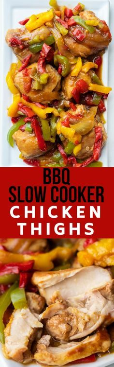 BBQ Slow Cooker Chic BBQ Slow Cooker Chicken Thighs recipe that my family loves! Throw these boneless chicken thighs in the crockpot for 2 and a half hours and then serve over rice for a easy complete meal! Keto and low carb recipe. Bbq Chicken Thighs Crockpot, Chicken Thigh Recipes, Best Chicken Recipes, Boneless Chicken, Recipe Chicken, Turkey Recipes, Slow Cooker Bbq, Slow Cooker Recipes, Crockpot Recipes