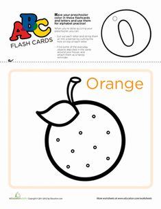 Use these flashcards to practice the ABC's, cut out and punch a hole at the top of each letter, and string them up to serve as a vibrant teaching tool. Letter O Activities, Preschool Letters, Literacy Activities, Learning Resources, Teaching Tools, Kids Learning, Writing Worksheets, Preschool Worksheets, School Information