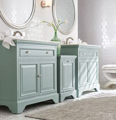 For an unexpected style, try two single vanities instead of one double vanity in your master bath. Our Sadie Collection features a beautiful single bath vanity in three beautiful finishes with a white marble top. Available at Home Decorators Collection.