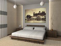 Chambre-de-style-chinois-avec-un-faux-mur-éclairé-deux-tables-de-nuit-et-peinture