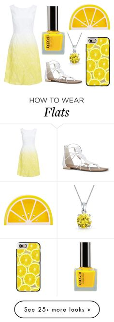 """""""Lemon Yellow and White Outfit"""" by lexi899 on Polyvore featuring Casetify, Kaliko, ALDO, Charlotte Olympia, Bling Jewelry, white, yellow, lemon and yellowandwhite"""