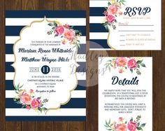 Navy Floral Wedding Invitation, Floral Invitation, Floral Wedding Invitations, Flower Invitation, Floral Invitations, Wedding Invite Floral