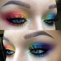 Bildergebnis für Regenbogen-Make-up-Look Makeup Goals, Makeup Inspo, Makeup Art, Makeup Inspiration, Makeup Ideas, Maquillage Halloween, Halloween Makeup, Rainbow Eye Makeup, Rainbow Eyes
