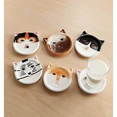 Cats are the best! We don't even have a single cat right now, but I'm still a cat lady a heart. Cat Coasters Set, from Through the Country Door®️️ Crazy Cat Lady, Crazy Cats, Ceramic Pottery, Ceramic Art, Cat Coasters, Ceramic Coasters, Wood Coasters, Cat Cafe, Cat Decor