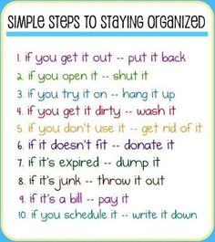 Simple steps to staying organized
