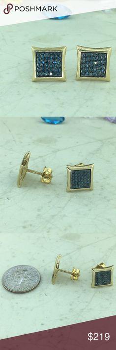 Blue diamond 10k yellow gold screw back earring Sparkling round brilliant blue diamond pave set in 10k yellow with screw backs. Jewelry Earrings