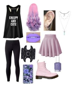 """Pastel Goth"" by ashlyn-pelkey on Polyvore featuring Jockey, Otis Jaxon, Dr. Martens, Essie and Samsung"