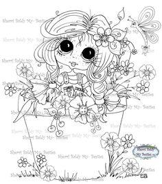 INSTANT DOWNLOAD Digital Digi Stamps Big Eye Big Head Dolls Digi Besties Button Garden Bestie Bestie By Sherri Baldy