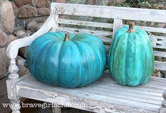 Mod Podge turquoise pumpkins. - Mod Podge Rocks