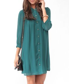 Pleated A-Line Shirtdress | FOREVER 21 - 2014348068. DISCLAIMER: ALL THE CLOTHING ARTICLES IN MEDIUM. Thanks ;-)