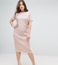 ASOS CURVE Crochet Lace Scuba Bodycon Midi Dress - White