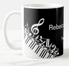 Shop Personalized Jumbled Musical Notes and Piano Keys Coffee Mug created by giftsbonanza. Treat Yourself, Make It Yourself, Stainless Steel Coffee Mugs, Piano Keys, Personalized Coffee Mugs, Funny Coffee Mugs, Coffee Travel, Photo Mugs, Funny Jokes