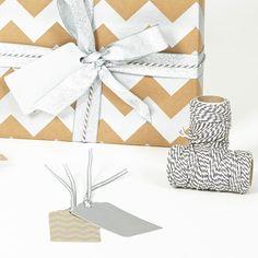 Silver Chevron Brown Wrapping Paper Set - Sophia Victoria Joy