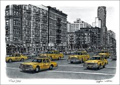 The amazing art of disabled artists. By Stephen Wiltshire. Amazing Drawings, Amazing Art, Taxi Drawing, Stephen Wiltshire, Autistic Artist, Cityscape Drawing, New York Taxi, A Level Art, Urban Sketchers