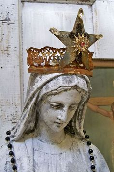 Huge Virgin Mary statue distressed shabby chic by AnitaSperoDesign