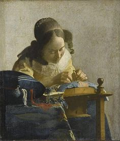 """""""The Lacemaker,"""" (1669) Johannes Vermeer (1632-1675), oil on canvas Musee du Louvre."""
