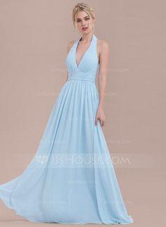[£76.00] A-Line/Princess Halter Floor-Length Chiffon Bridesmaid Dress With Ruffle