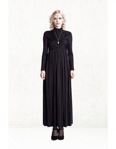 Amelia black draped maxi dress