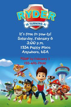 PAW PATROL Birthday Party Invitation  by twotwelvedesigns on Etsy, $5.50