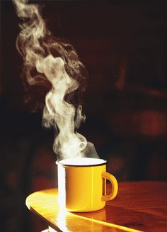 Steaming cup of coffee gif